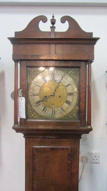 early georgian 115in square brass 8 day oak longcase clock