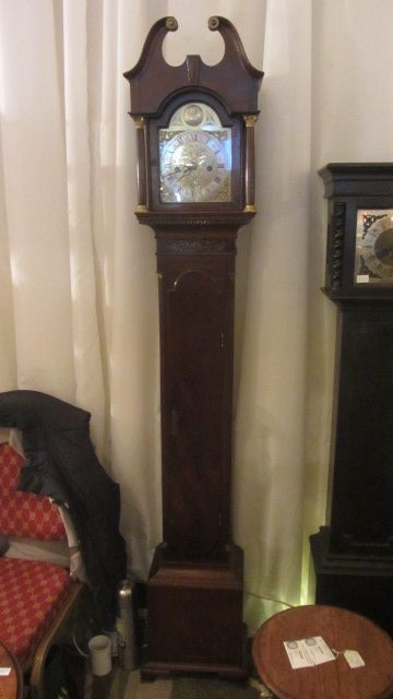 slim petite georgian mahogany cased 8 day twin weight striking longcase clock