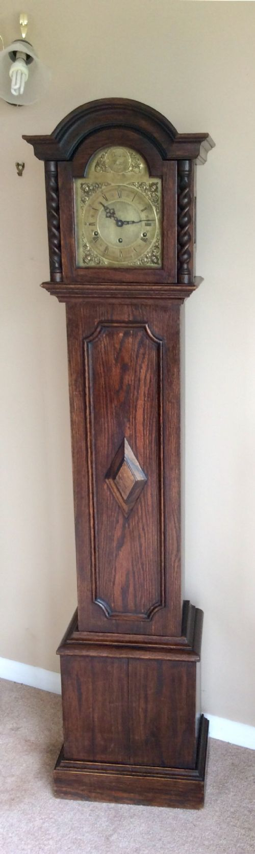 late 19th c small grandfather or grandmother longcase clock with mellow westminster chimes