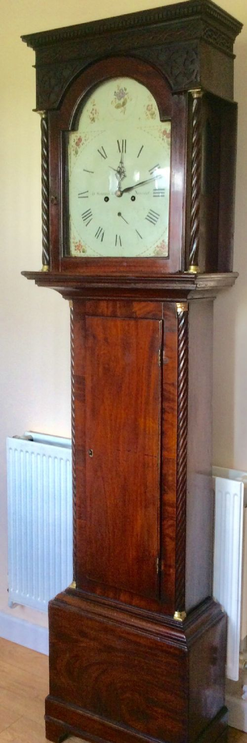 georgian george iii figured deep mahogany 8 day grandfather longcase clock