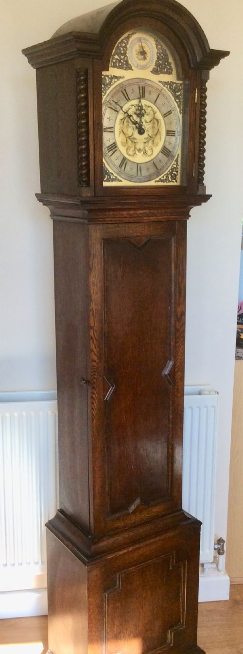 oak barley twist triple weight westminster musical chiming grandmother or grandfather longcase clock