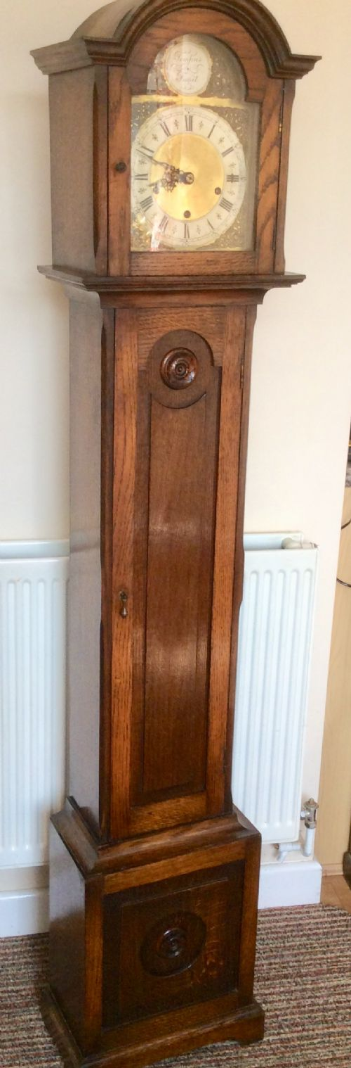 oak cased westminster chiming small grandfather ograndmother longcase clock