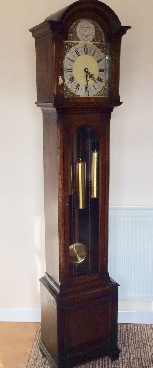 triple weight glass fronted oak cased westminster chiming grandfather or grandmother longcase clock