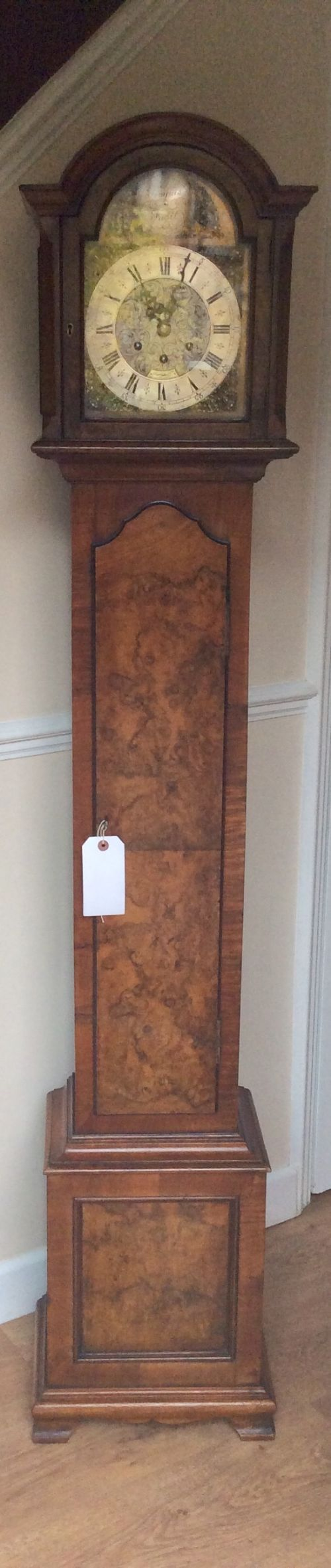 gustav becker burr walnut grandmother longcase clock with 2 tunes