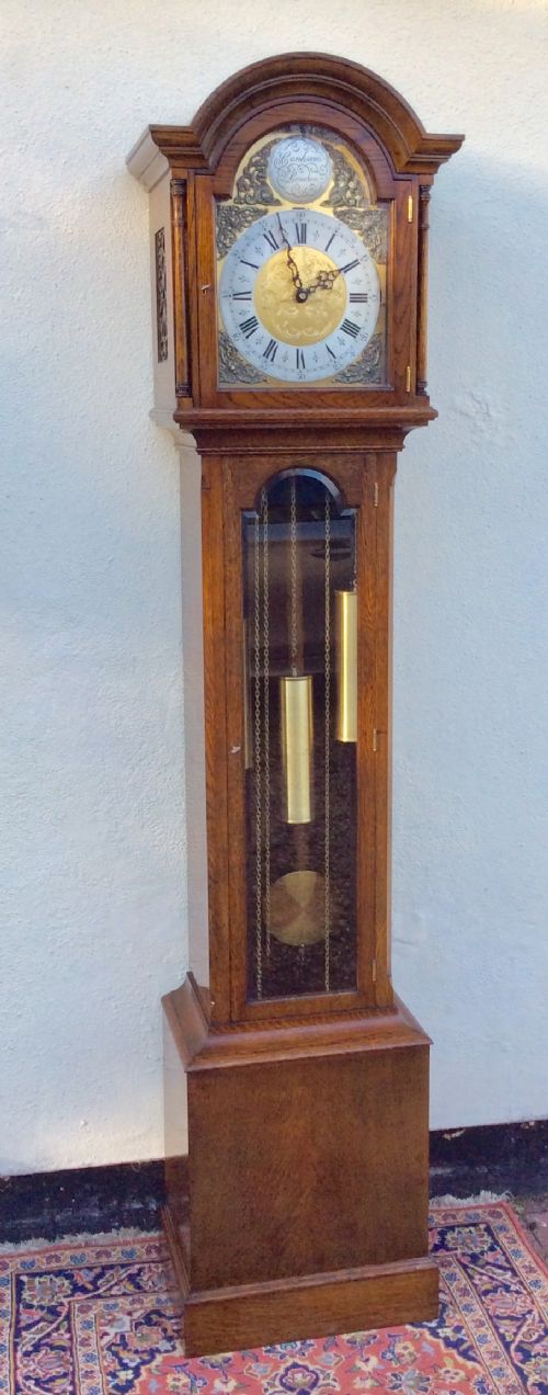 fine 8 day oak cased triple weight triple musical tune grandmother or grandfather longcase clock