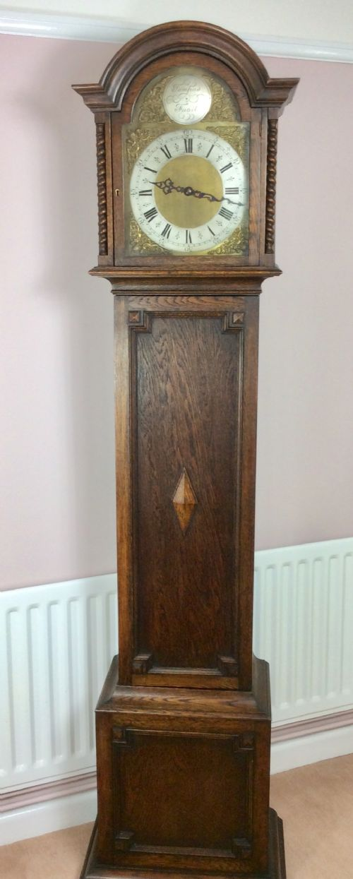 barley twist oak triple weight westminster chiming grandmothergrandfather longcase clock