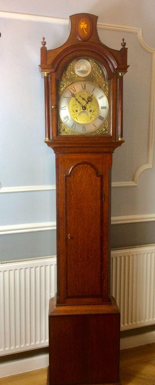 18th c oak grandfather longcase clock possibly irish with shamrock or cloverleaf brass inlay