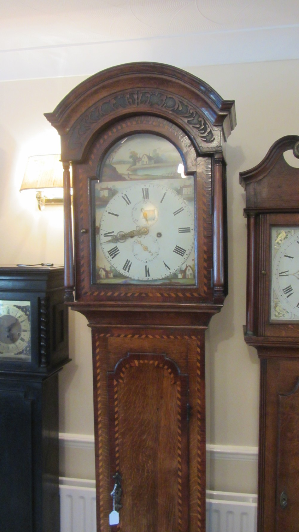 charming oak cased longcase with chequer banding