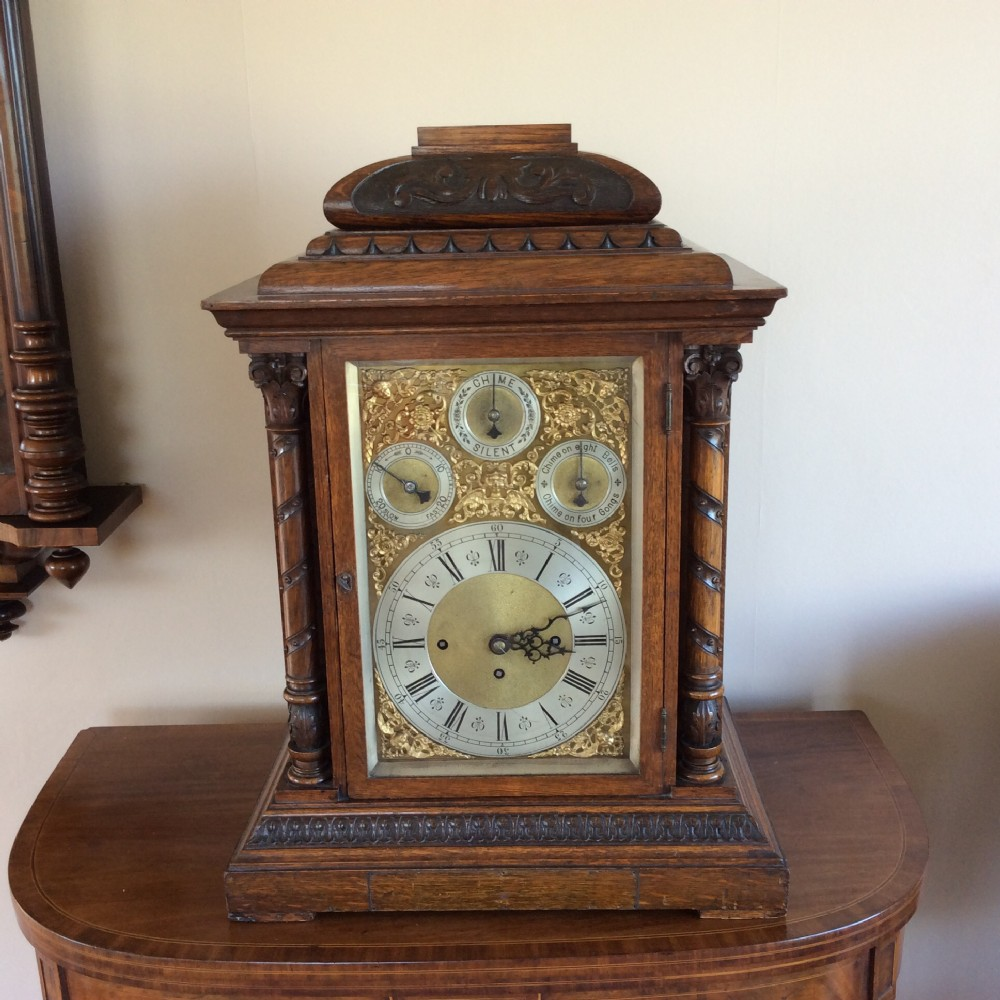 musical 8 bell 5 gong wh triple fusee table bracket mantle clock circa 1840