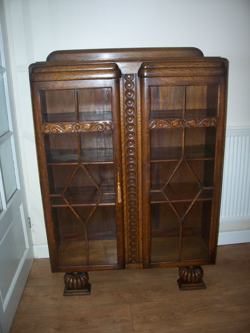 art deco oak bookcase display cabinet