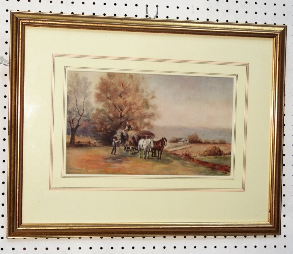 early 20th century glazed and framed original watercolour rural harvest landscape farmers loading horse cart je hood 1916 during the first world war