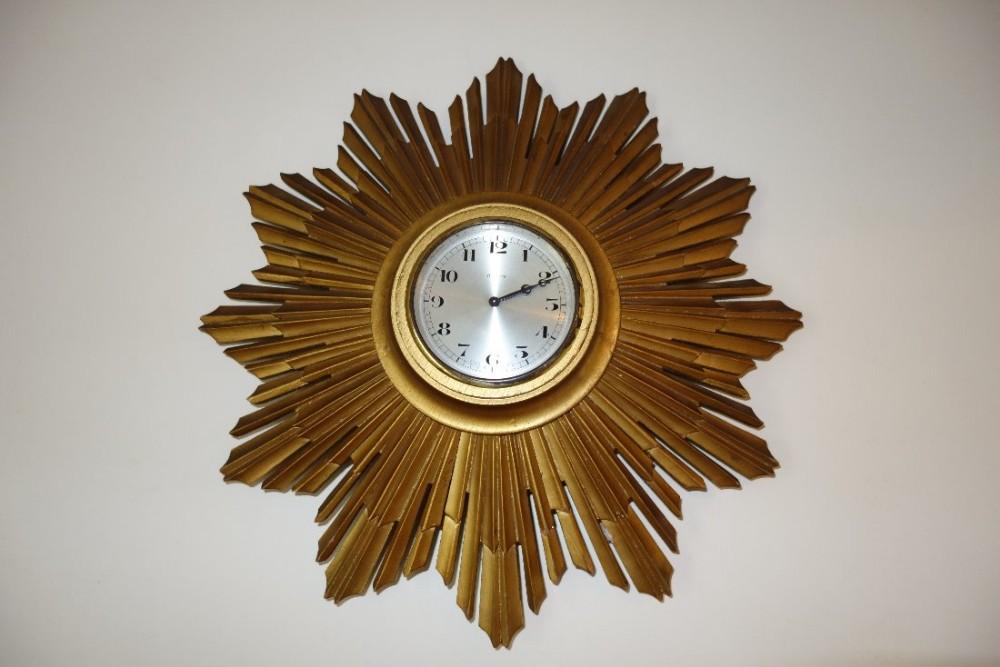 silvered dial gilt wood sunburst 8 day swiss wall clock circa 1900