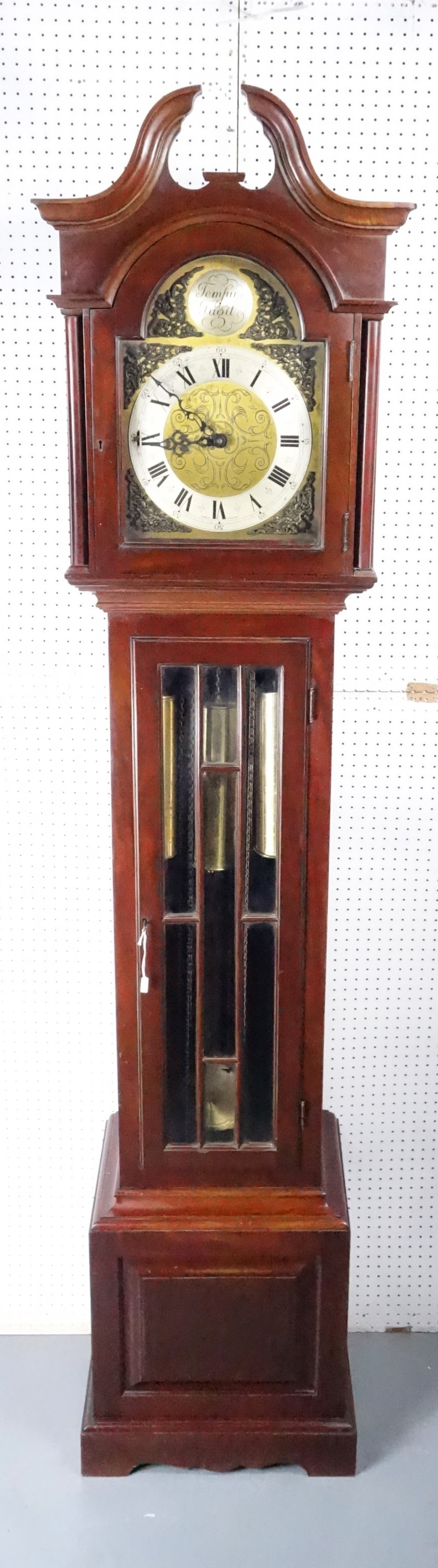 good quality mahogany english triple weight westminster chiming small grandfather longcase clock circa 1920