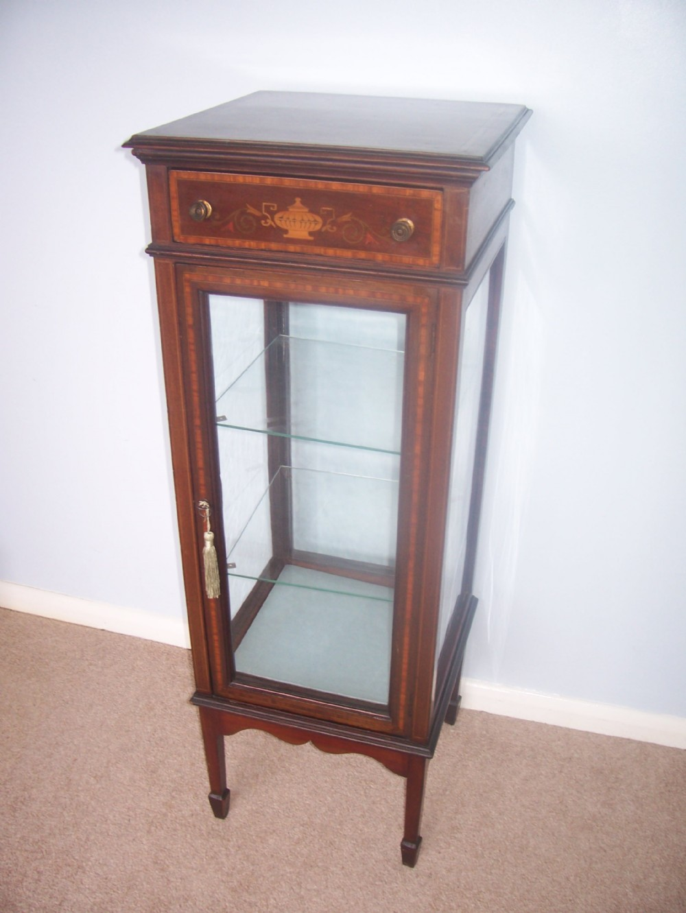 mahogany free standing display bijouterie cabinet
