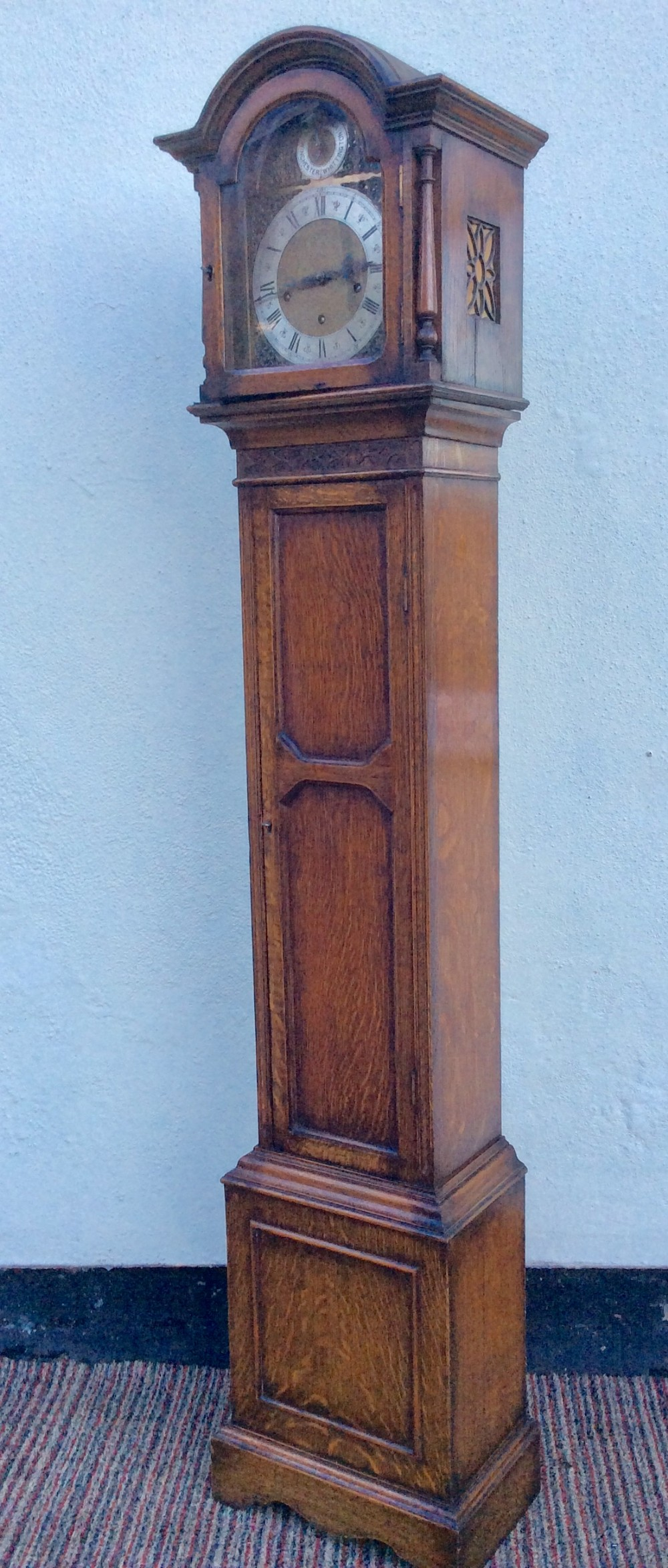 quality triple tune 8 day oak grandmother or small grandfather longcase clock