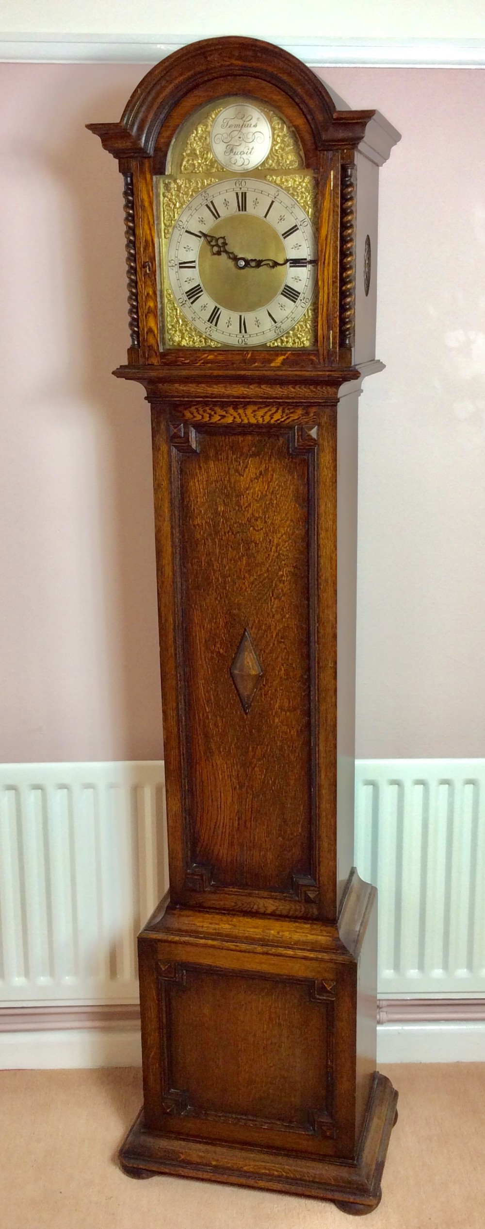mellow sounding triple weight oak with barley twist columns grandmother or grandfather longcase clock
