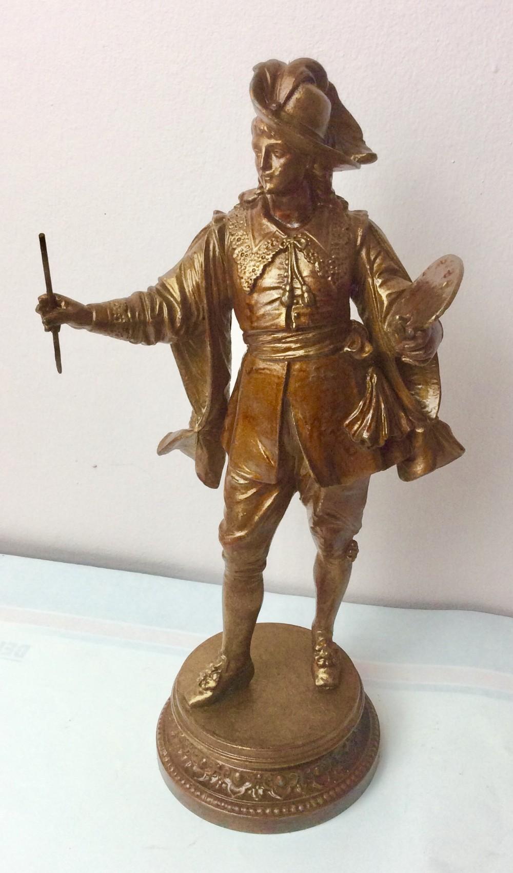 the artist bronzed spelter figural statue