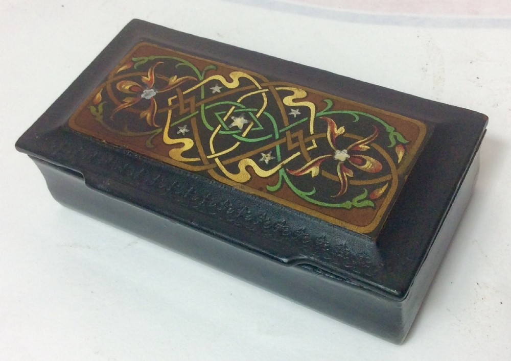 19th century islamic pattern decorated papiermch table snuff box