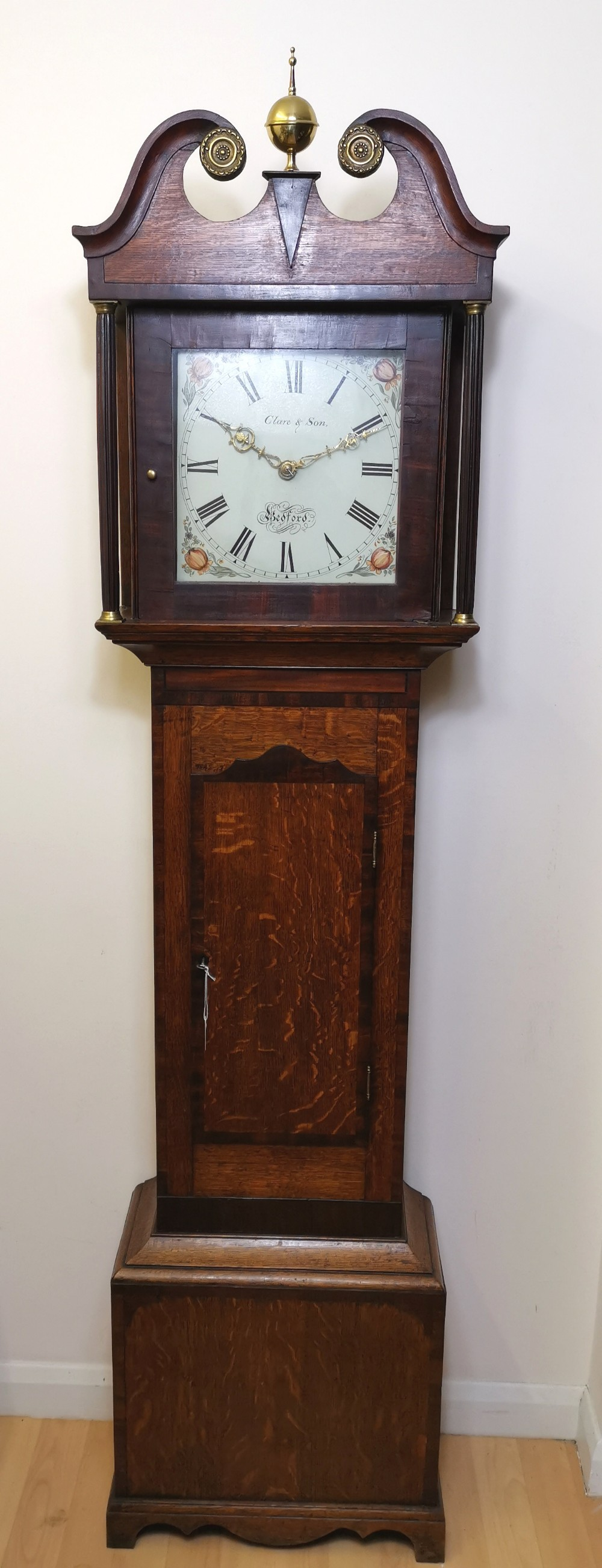clare son bedford oak mahogany banded 19th century longcase renowned bedford clock making family