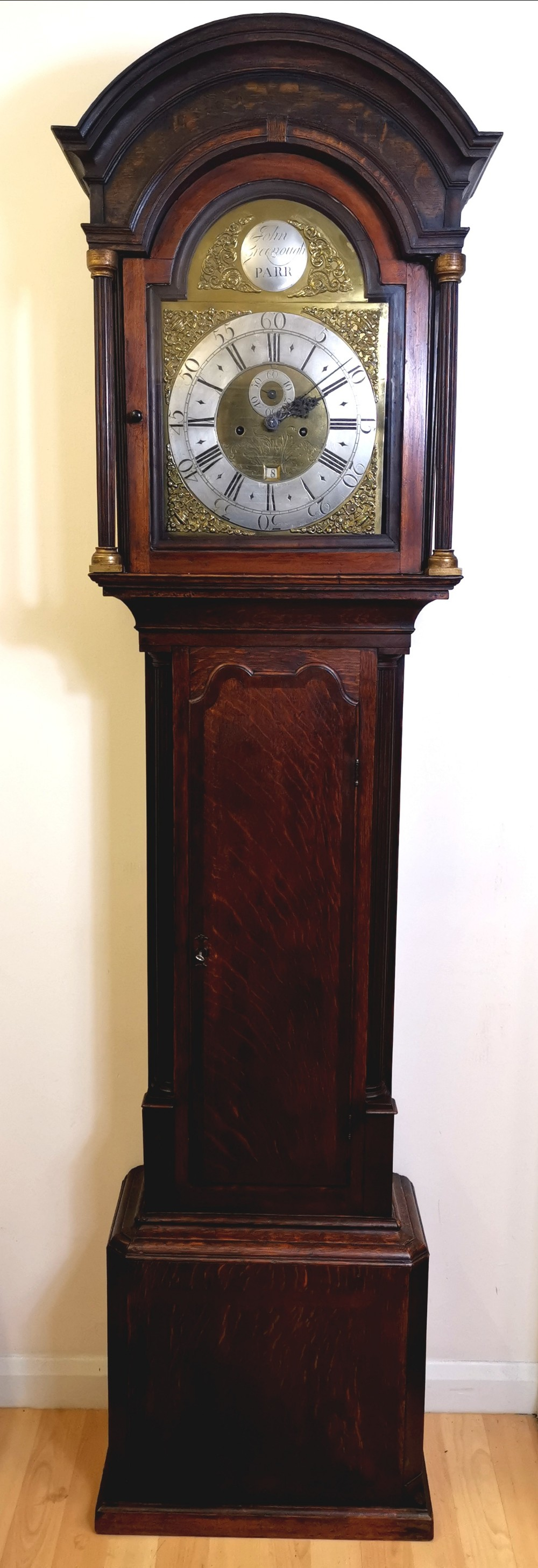 well proportioned 18th century georgian oak with mahogany banding reeded columns grandfather longcase clock john greenough circa 1780