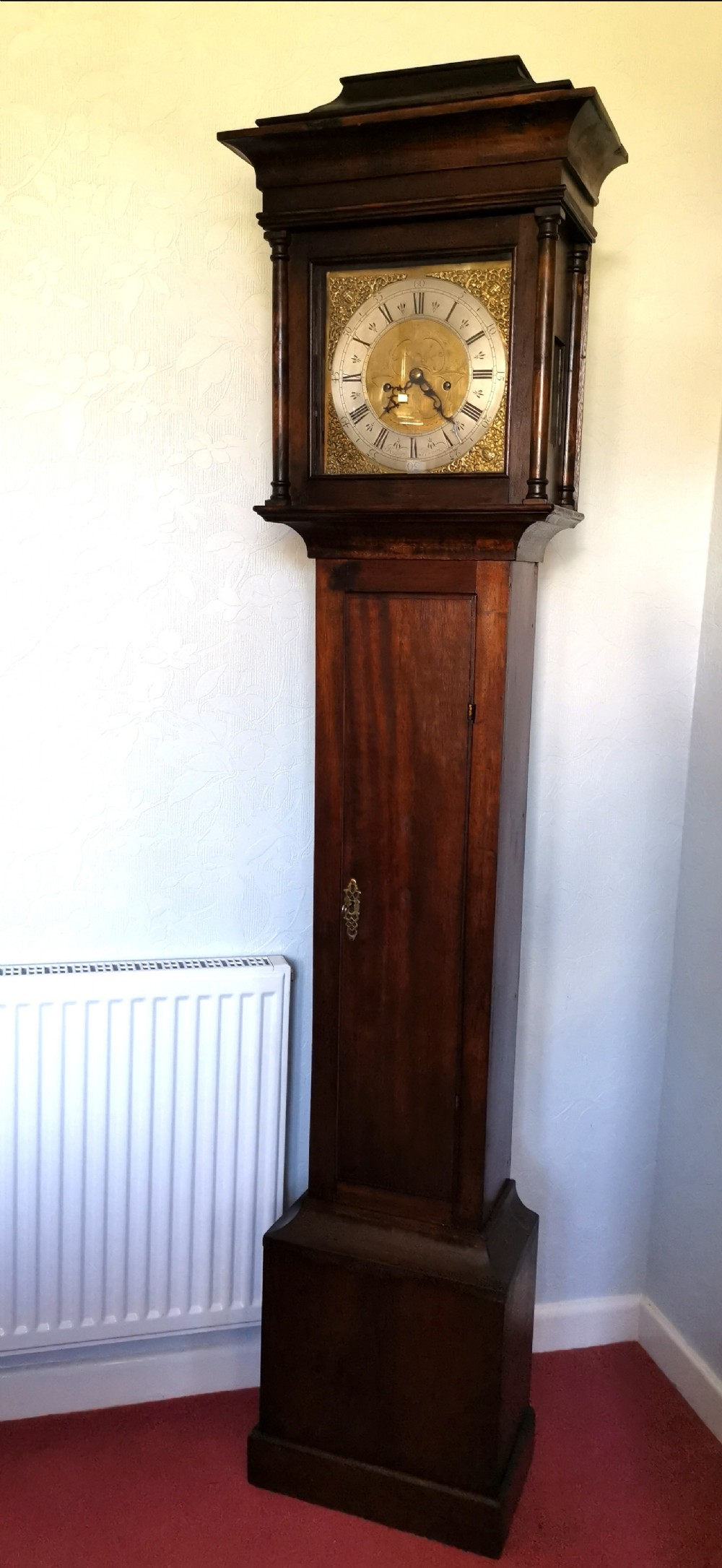 antique 8 day striking clock mahogany small 6ft 55in high grandfather longcase clock