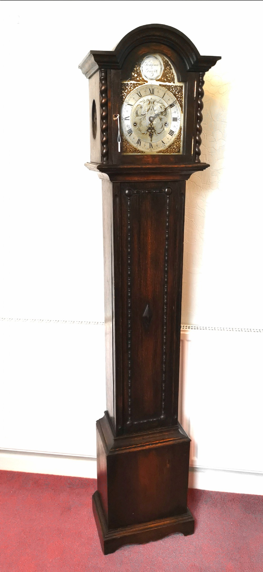 sweet sounding english early 20th c oak petit grandfather or grandmother longcase clock striking the hours playing musical chimes on each quarter