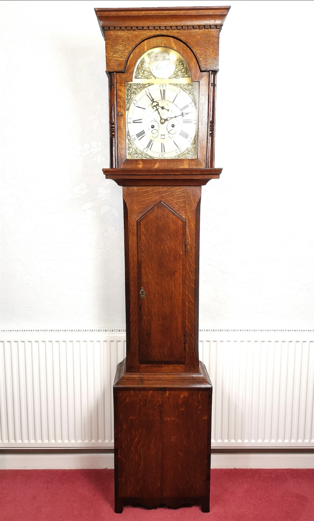 english 18th c georgian oak grandfather longcase clock by thomas king of alnwick with brass dial and silvered chapter ring