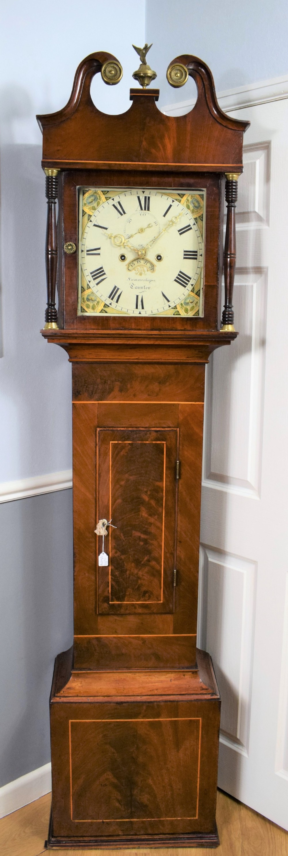 small early 19th century flame mahogany with satinwood inlay 8 day bell striking grandfather longcase clock by summerhayes of taunton