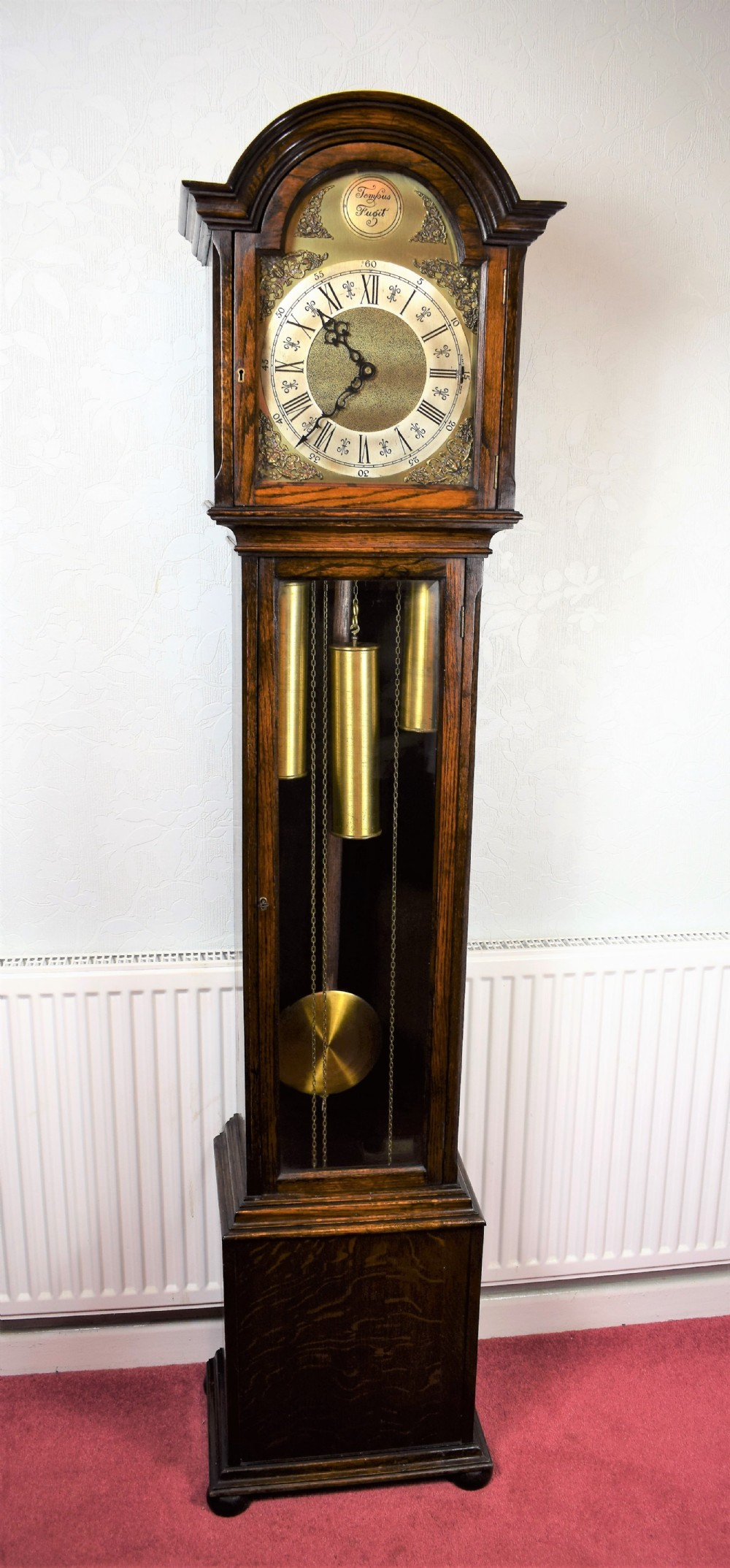 english triple weight two tune westminsterwhittingtonsilent glass fronted oak grandmother or small grandfather musical longcase clock