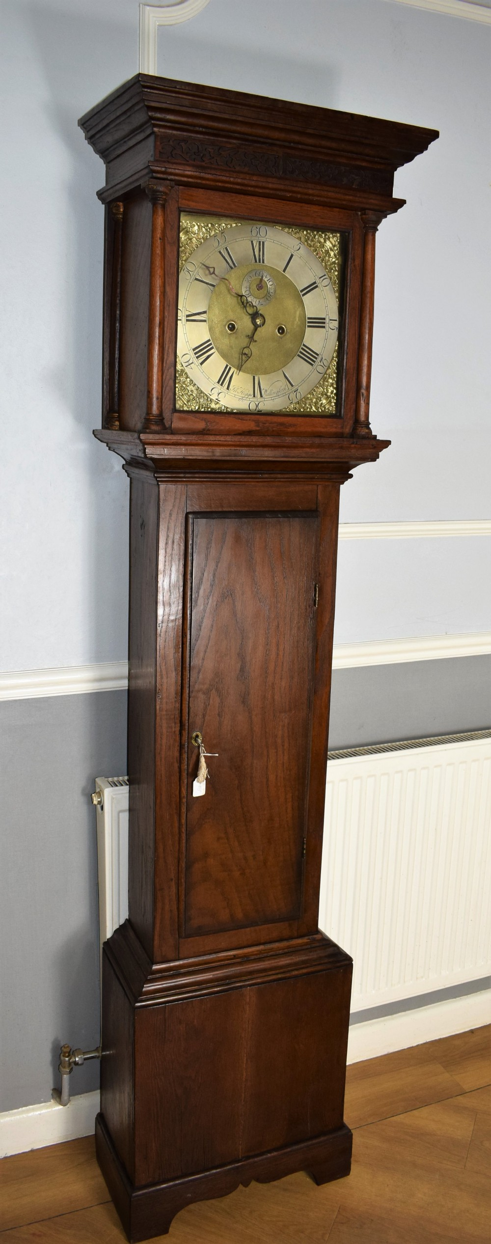 small 76in 8 day bell striking oak grandfather or grandmother longcase clock circa 1780 by john higgs of wallingford