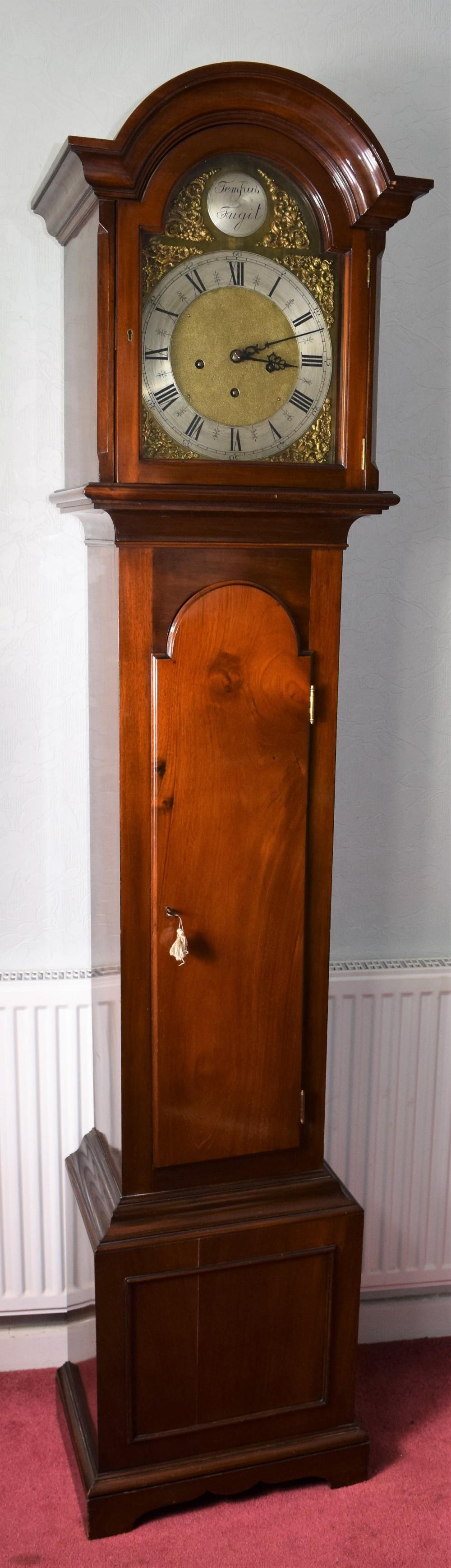 solid mahogany early 20th century grandfather longcase musical chiming clock