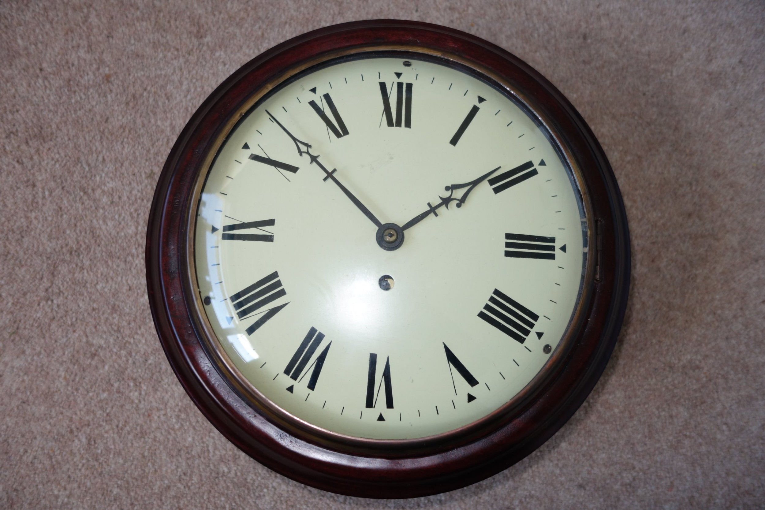 small late 19thearly 20th c convex dial glass fusee schoolofficestation wall clock in a mahogany case
