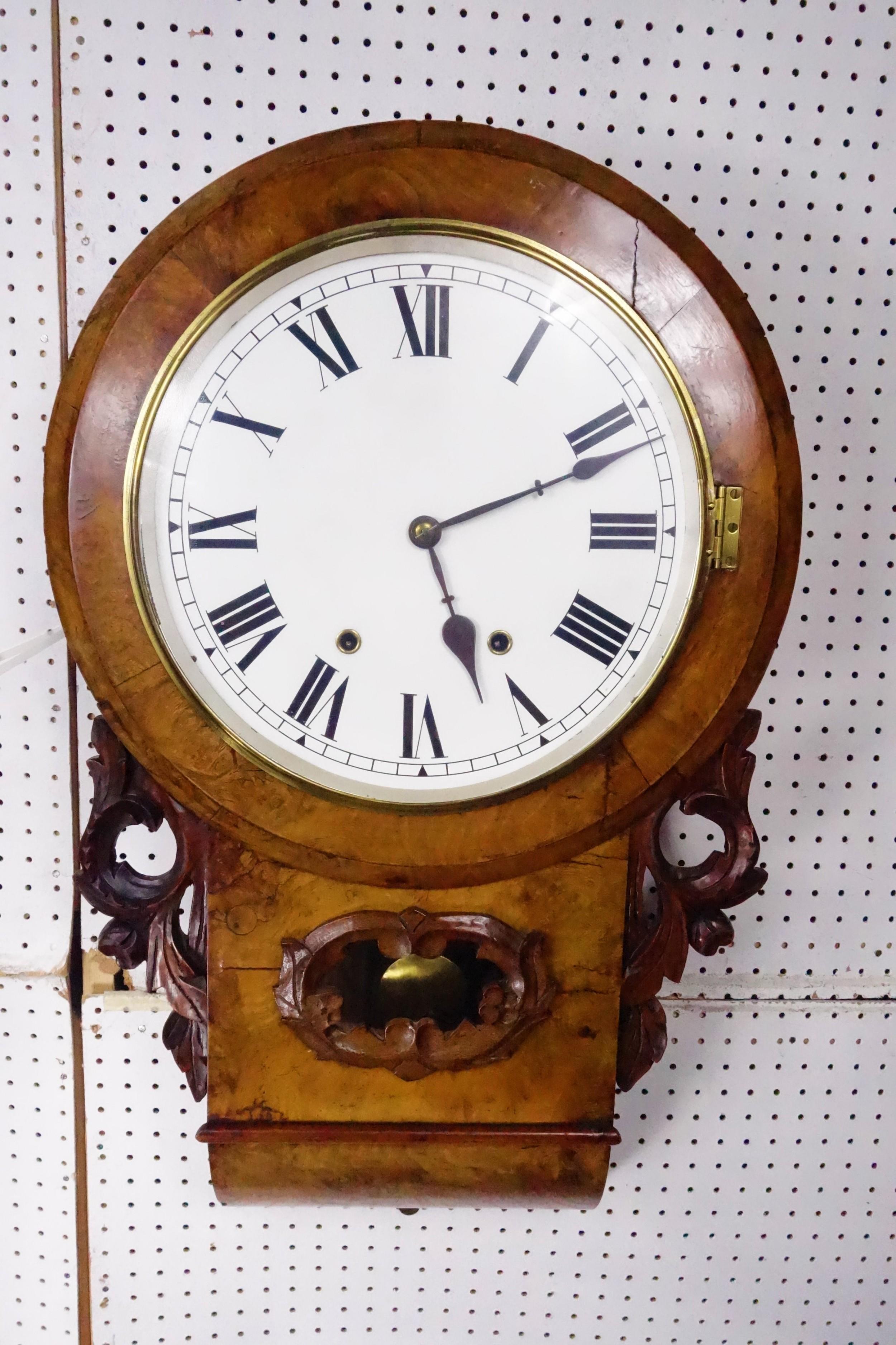 attractive figures walnut 8 day striking drop dial wall clock