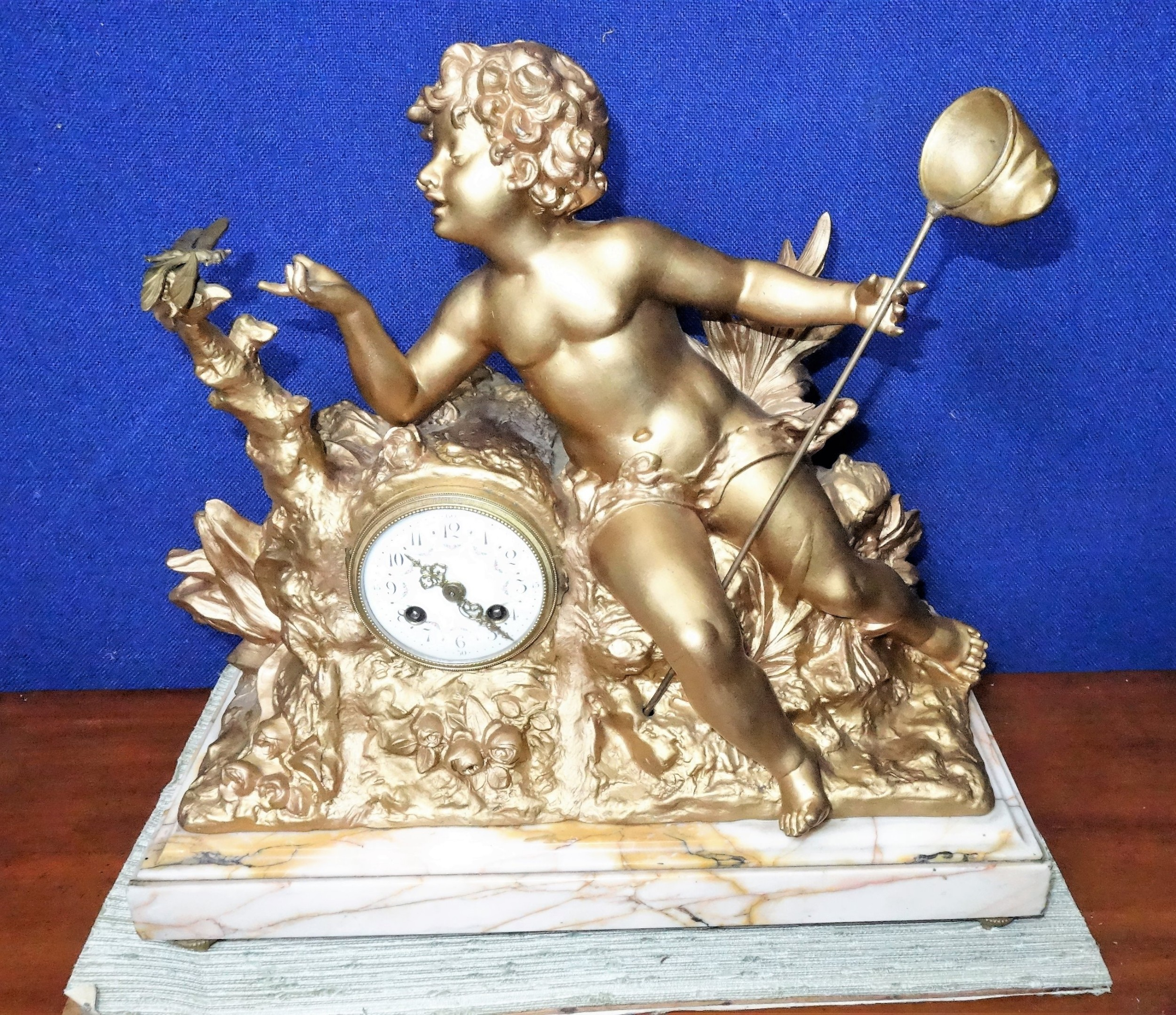 charming impressive cherub dragonfly 19th century gilt french mantelmantle or table clock with substantial variegated marble stand