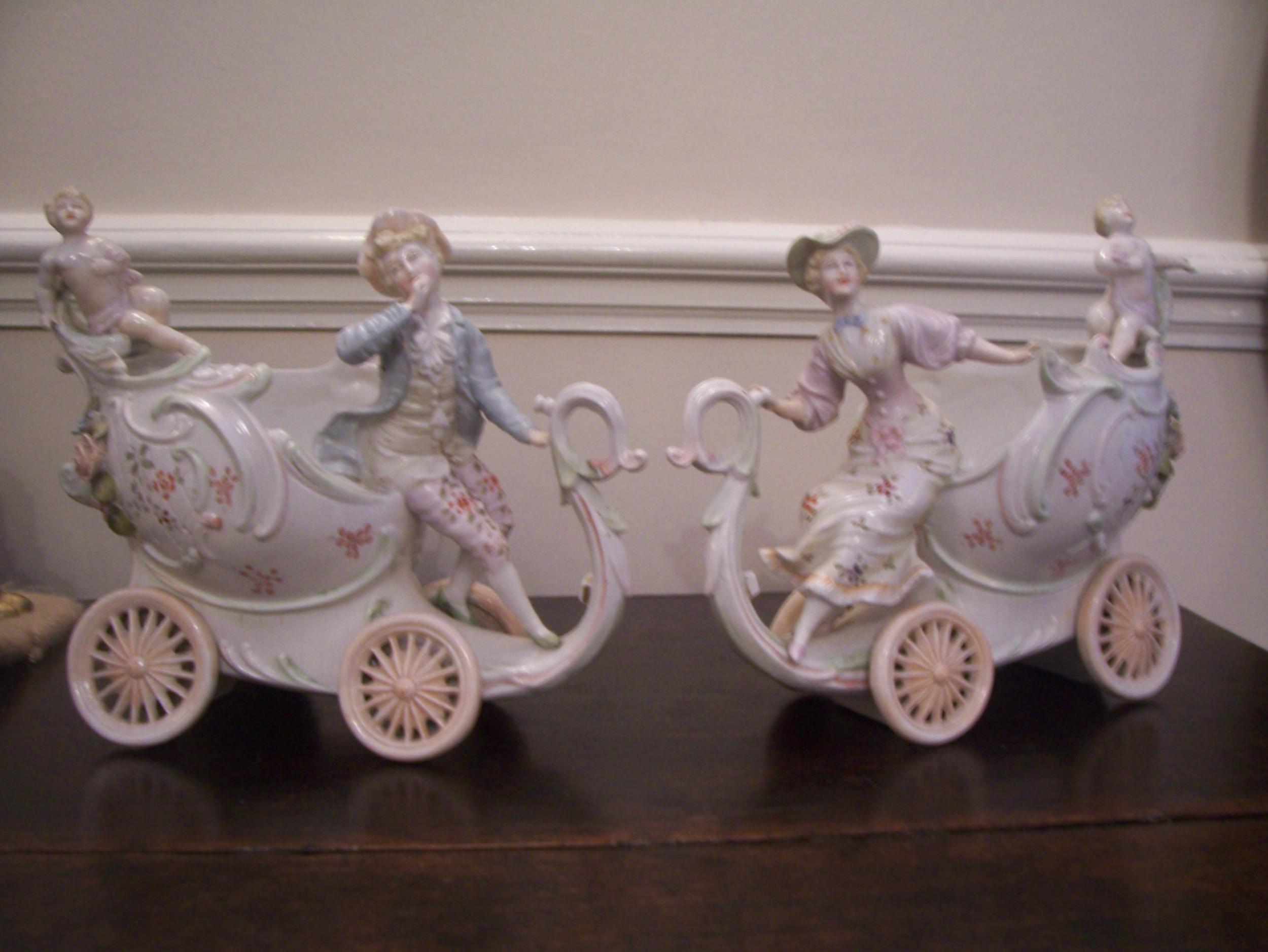 pair c19th chariot vases