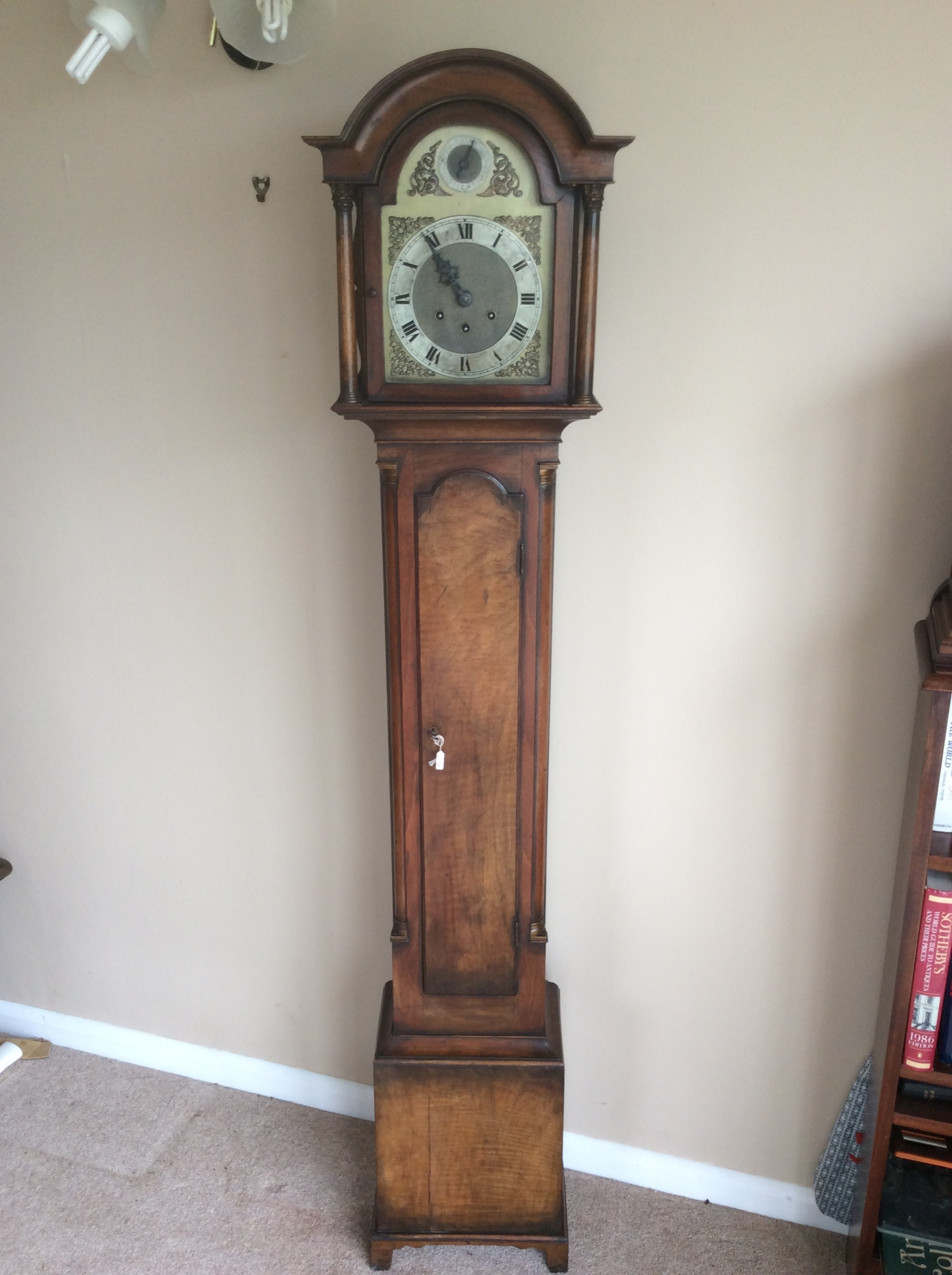 gustav becker late 19th c figures walnut petite chiming grandfather or grandmother longcase clock