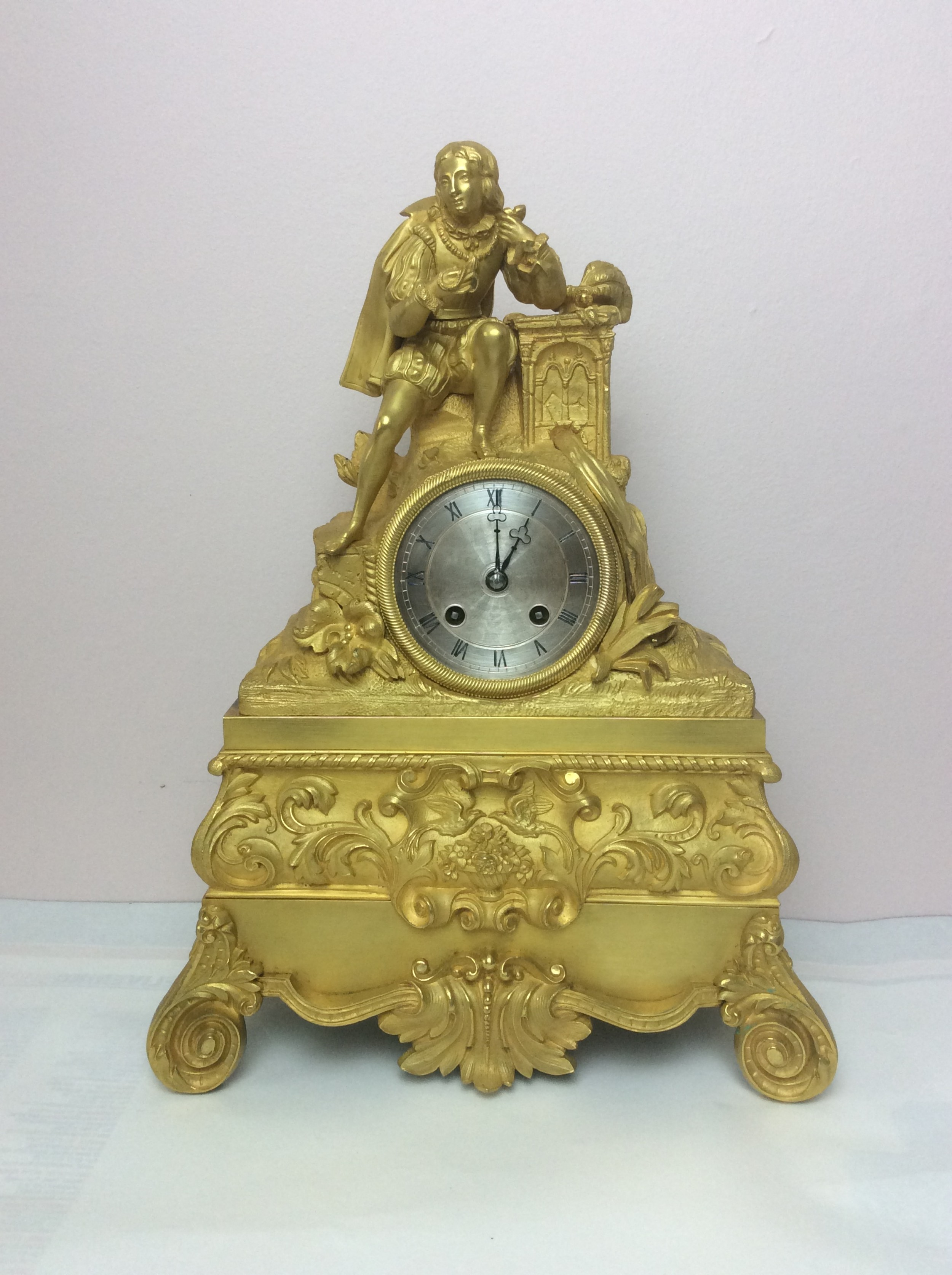 small antique french empire 8 day bell striking gilt bronze ormolu silk suspension mantle clock with figural explorer