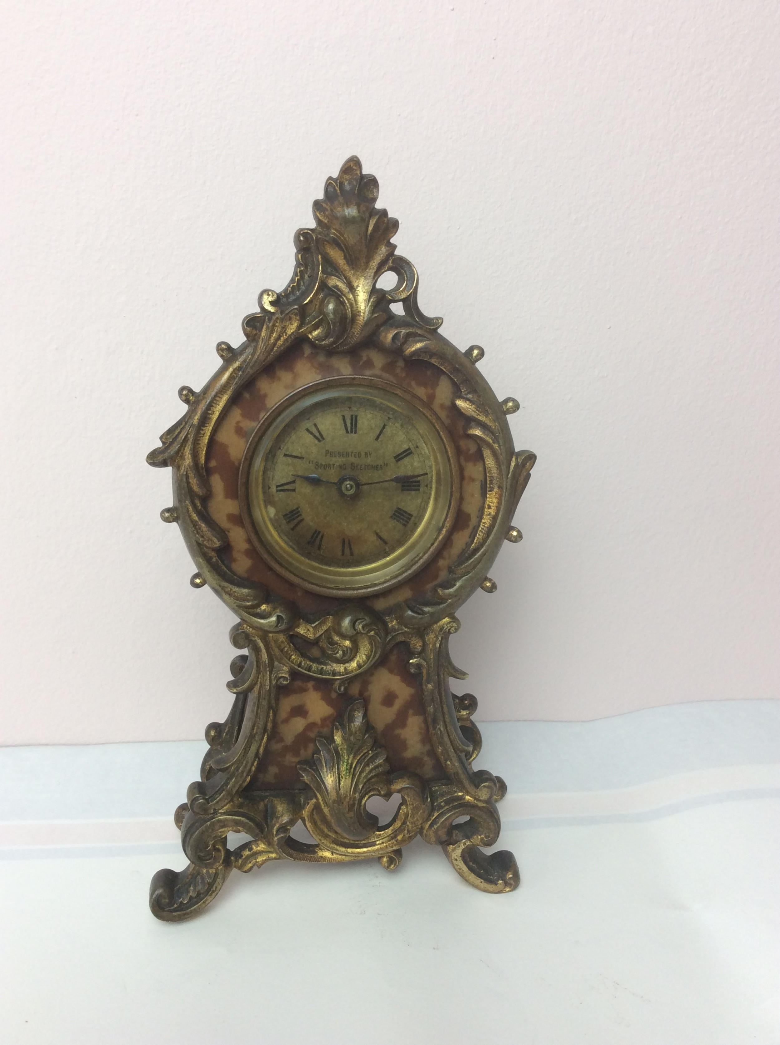 late 19th c petite gilt ormolu advertising boudoir clock presented by sporting sketches