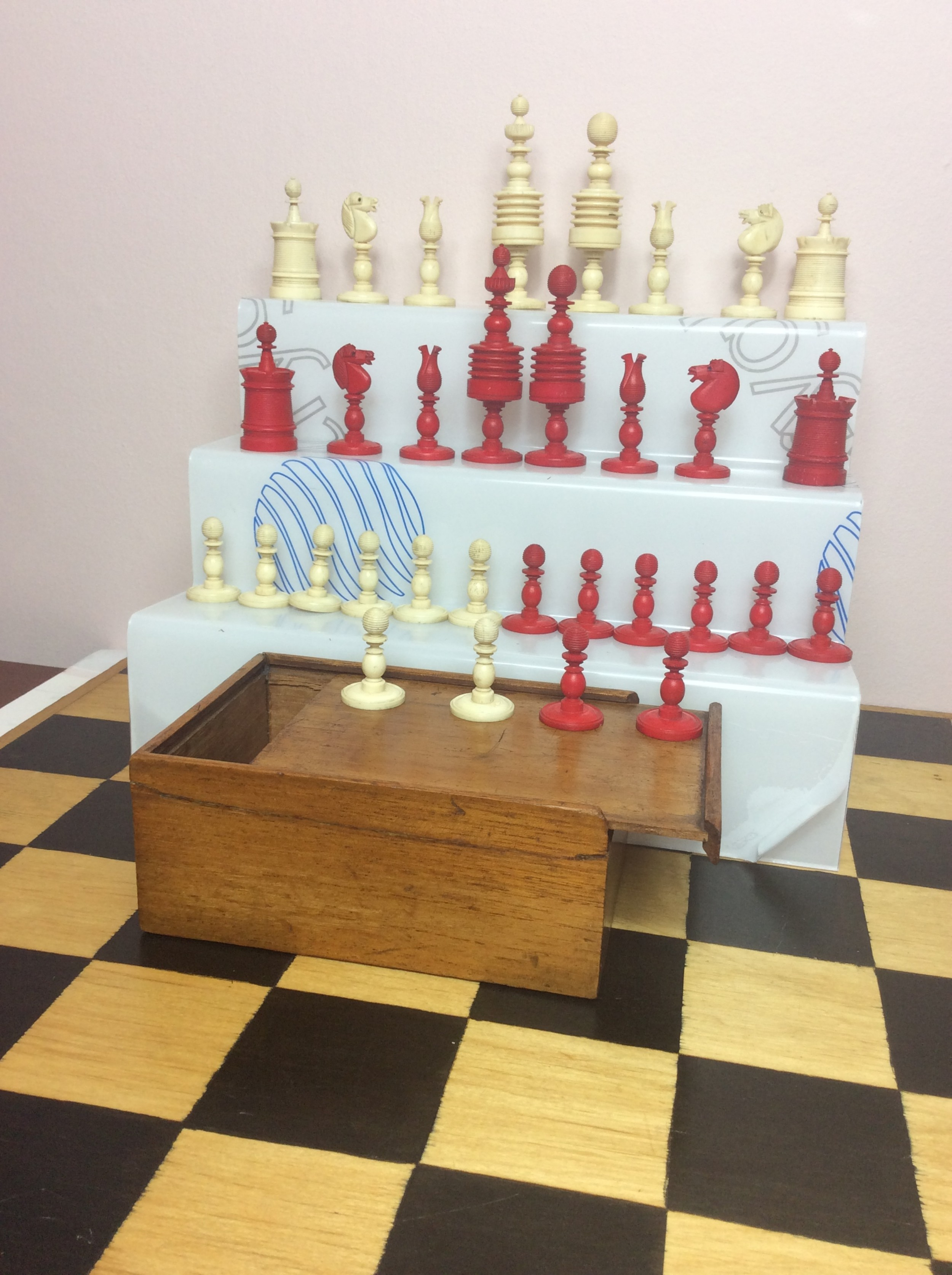 large bone chess set king 38in with mahogany box late 19th century