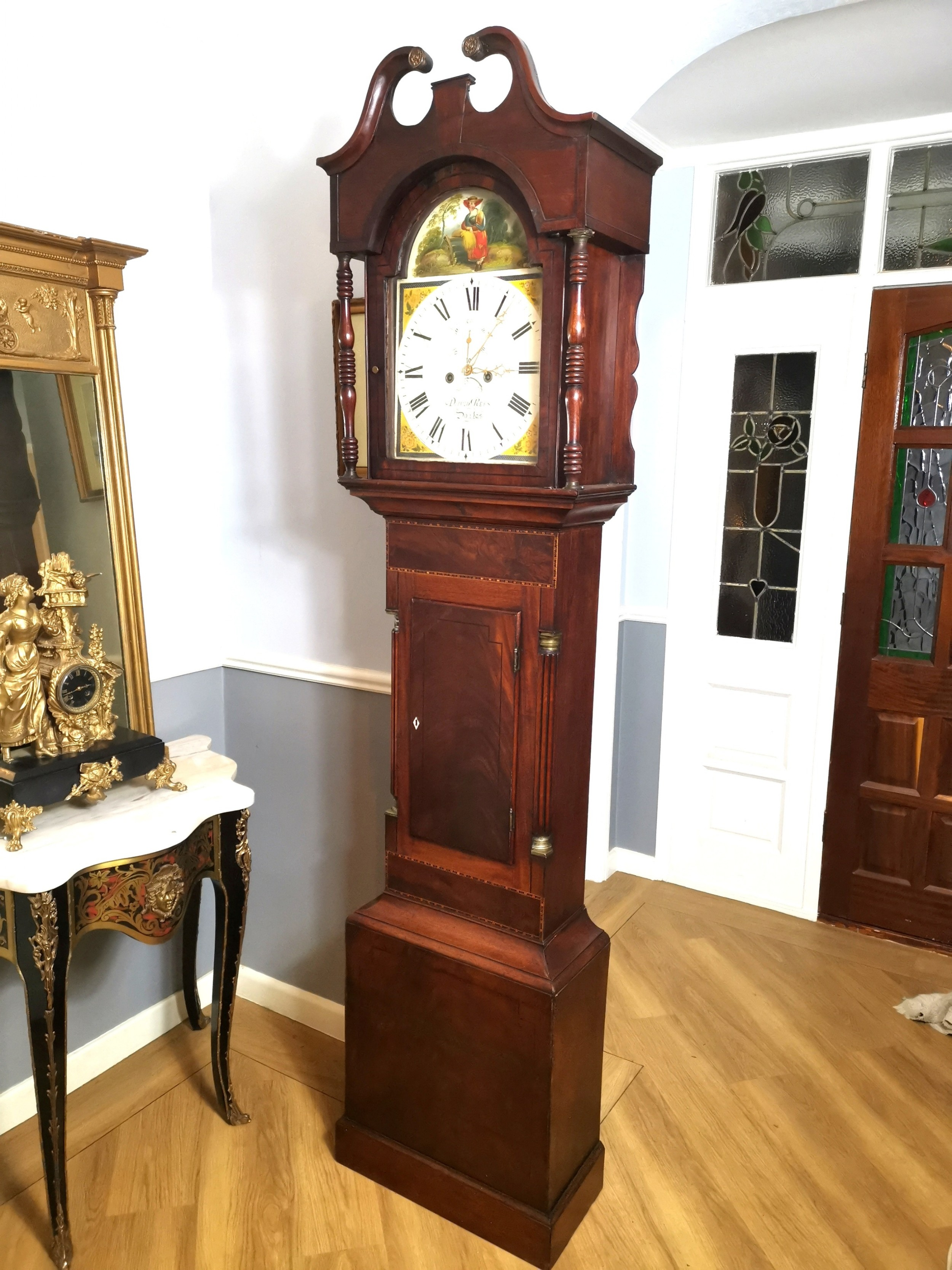 late georgian 8 day mahogany inlaid grandfather longcase clock with hour striking painted dial