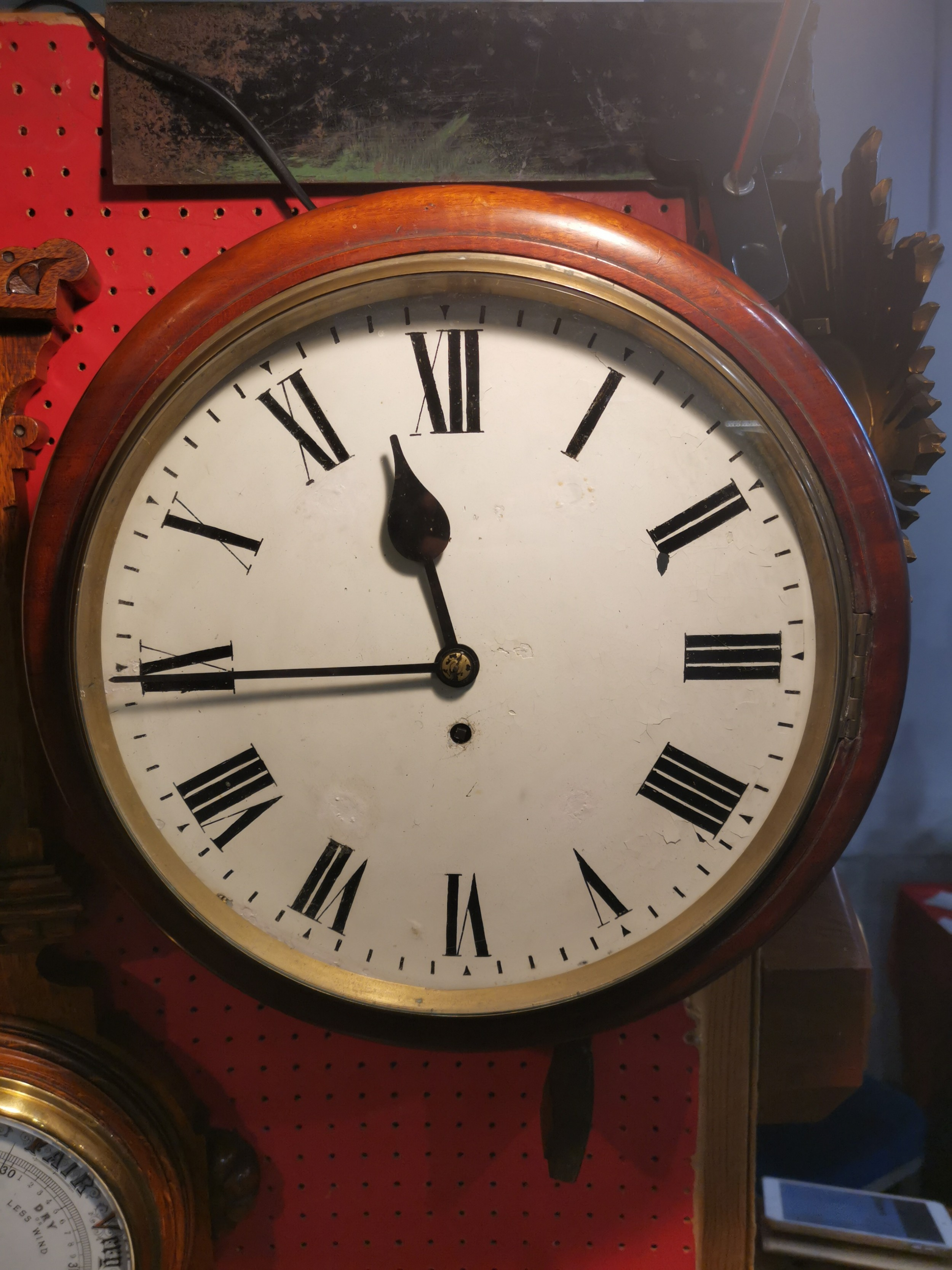 late 19th century mahogany cased fusee dialschoolofficerailway type wall clock timepiece