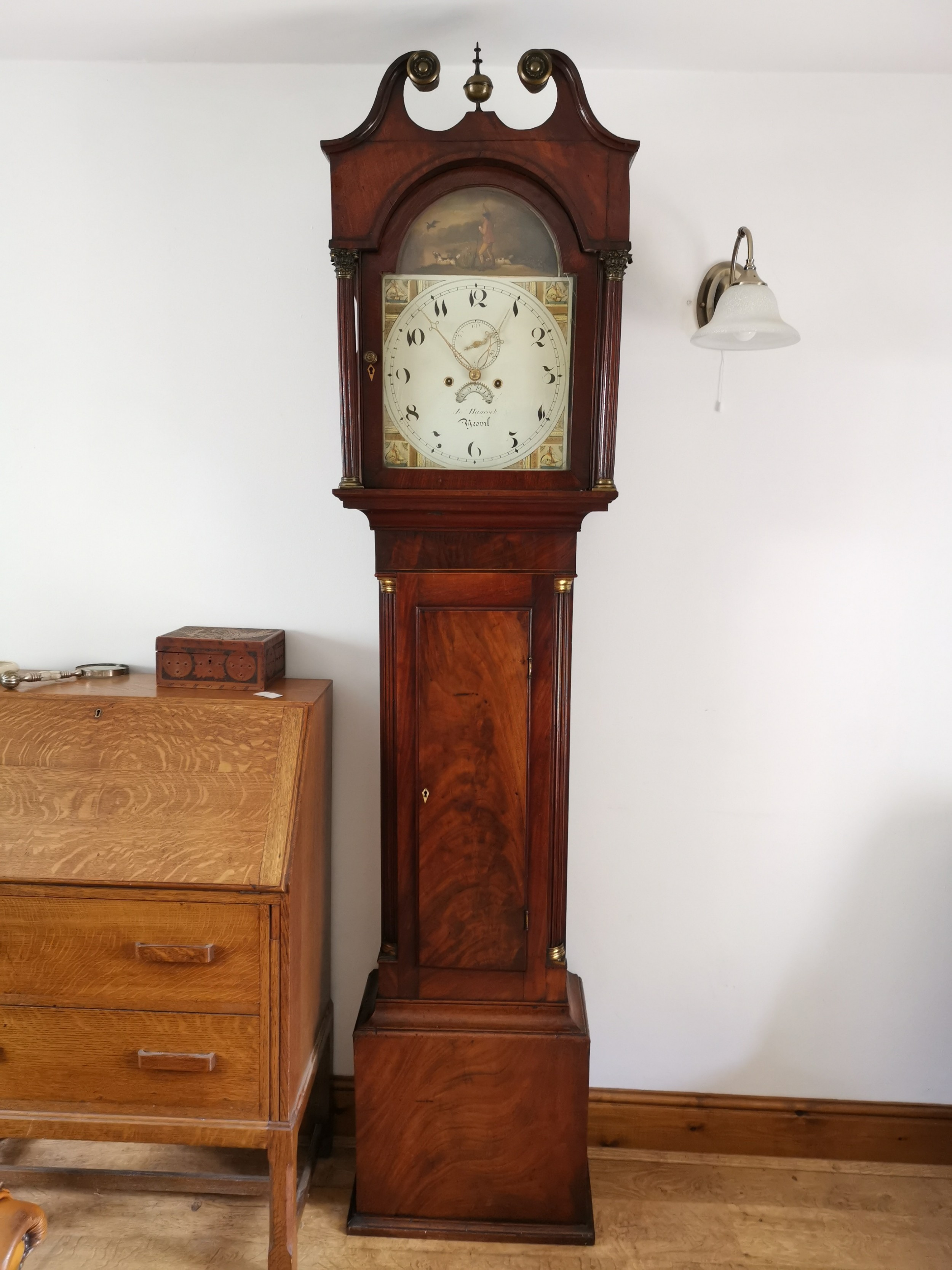early 19th c georgian mahogany 8 day bell striking english grandfather longcase clock with painted dial john hancock of yeovil somerset noted by brian loomes