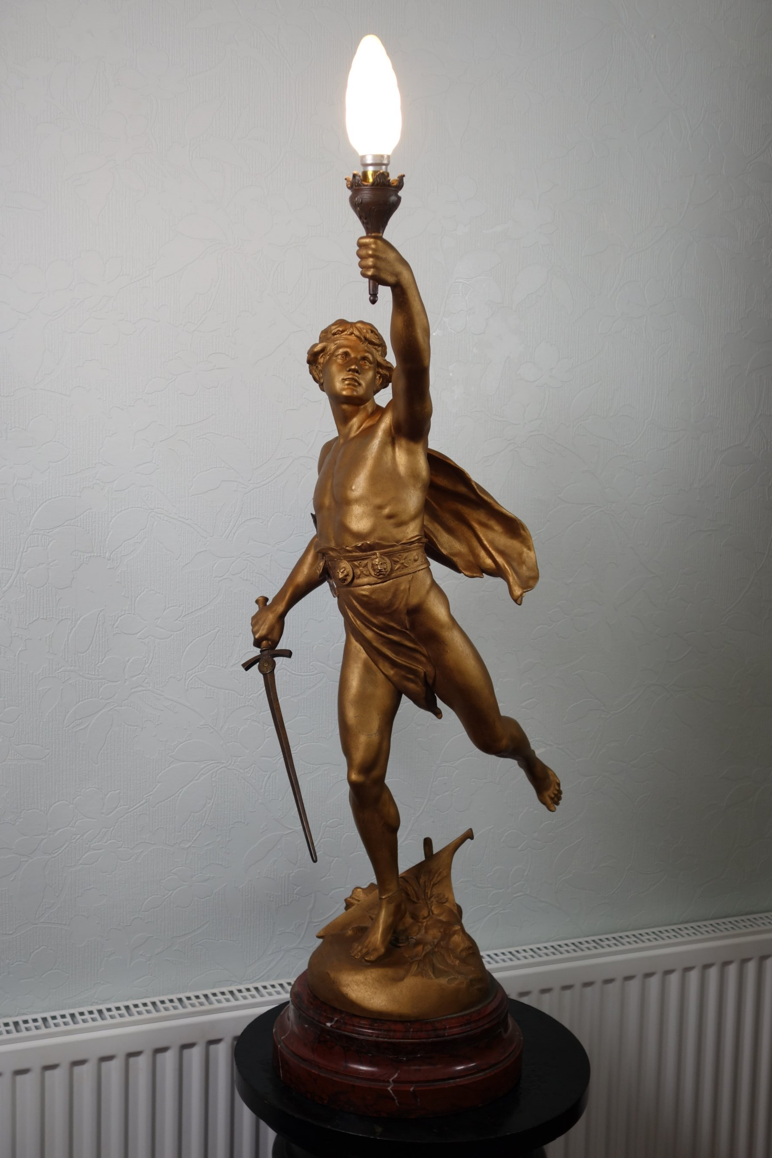 victory bronzedgilt large spelter brass lamp on variegated red marble base circa 1900 36in tall