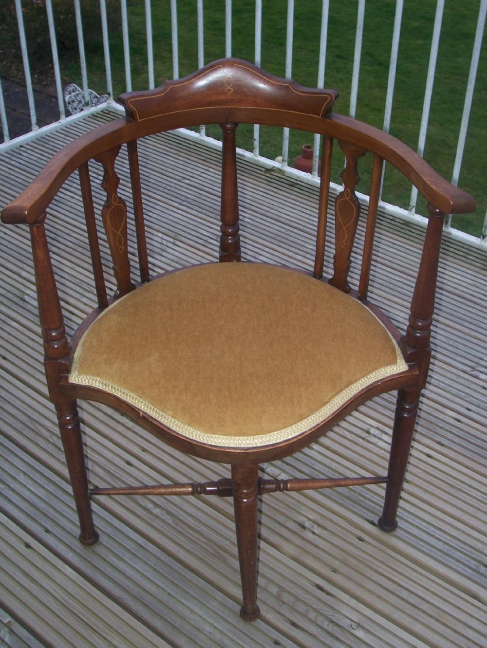 edwardian mahogany inlaid corner chair 255300