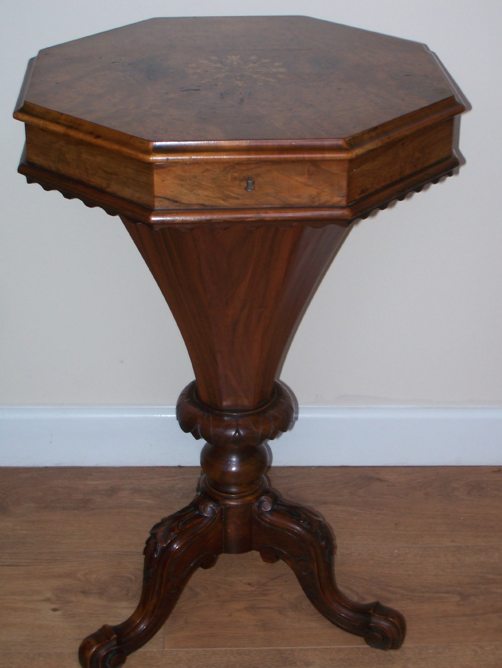 victorian inlaid walnut workbox sewing table 249266. Black Bedroom Furniture Sets. Home Design Ideas