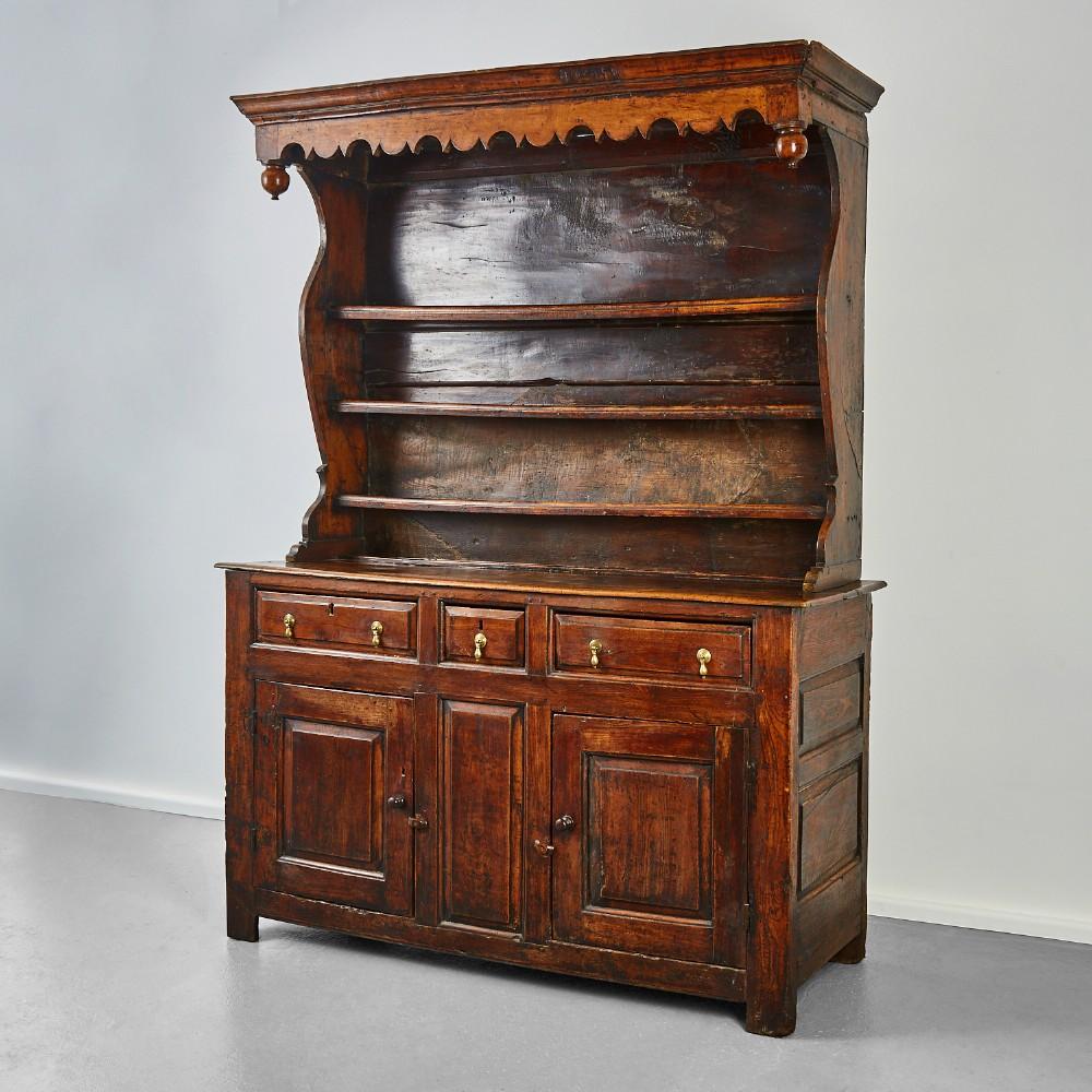 georgian oak and fruitwood cupboard based dresser