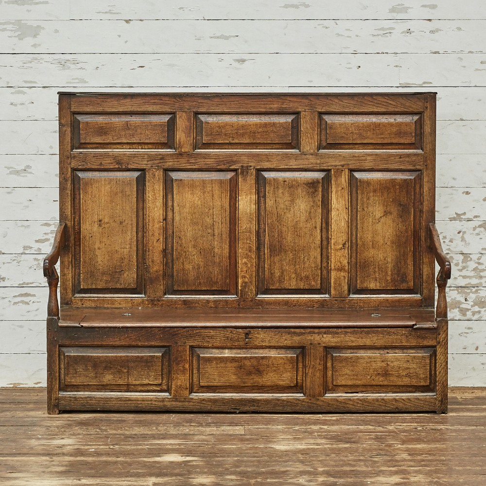 georgian english oak box settle