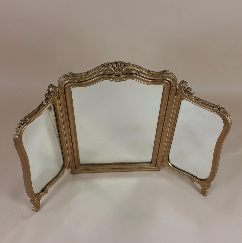 19th c english carved gilt wood folding triptych mirror