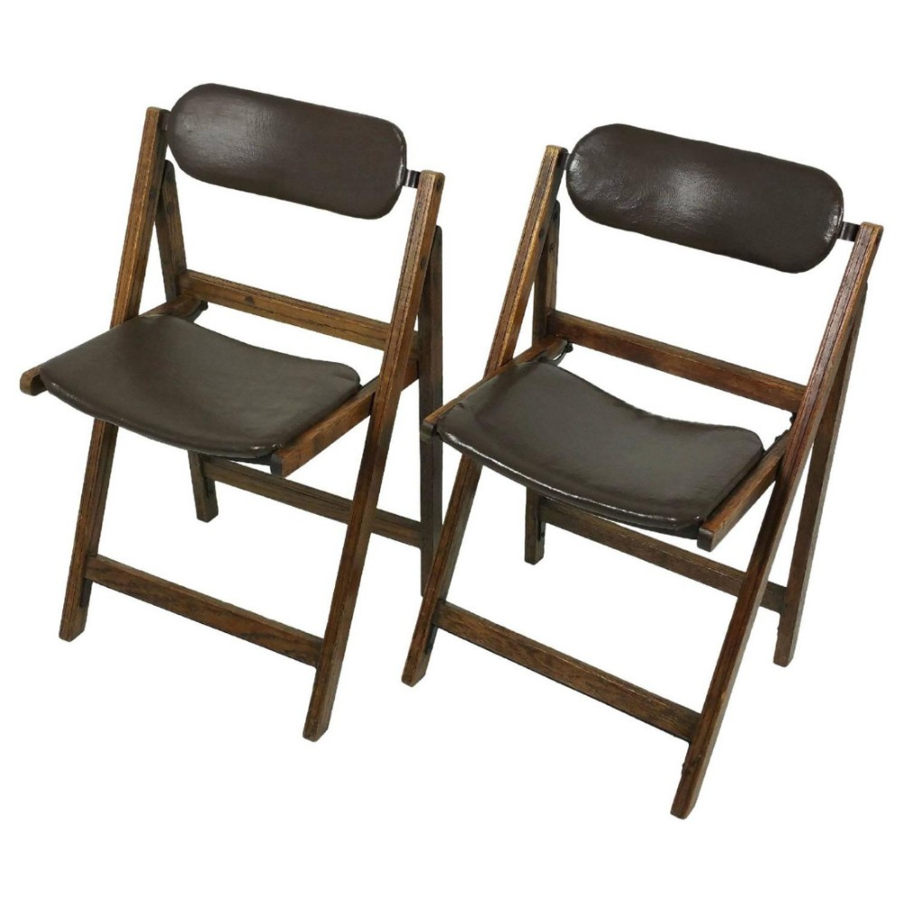 Sensational Pair Of Edwardian Oak And Leather Tansad Folding Chairs Alphanode Cool Chair Designs And Ideas Alphanodeonline