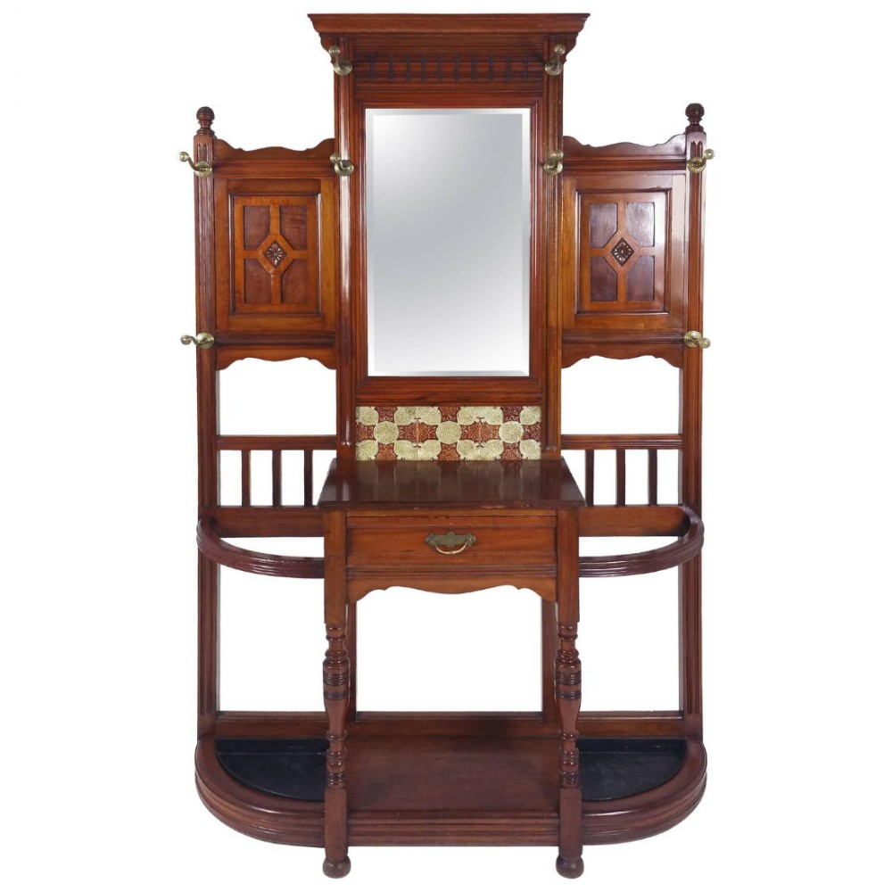 large victorian walnut mirror backed hall stand